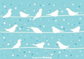 Bird On a Wire At Winter Vector