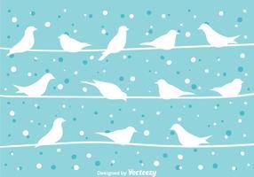 Vogel Op Een Draad Bij Winter Vector