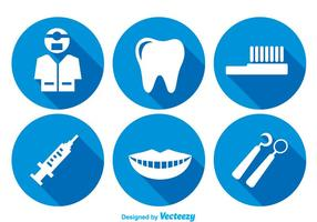 Teeth Care Long Shadow Icons