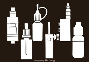 Vape White Icons vector
