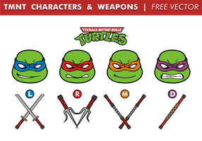 TMNT Charaktere & Waffen Free Vector