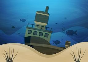 Sunken Ship Underwater Vector