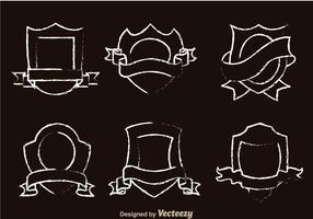 Shield forma de tiza dibujado vectores