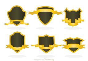 Shield Shape With Gold Ribbon vector