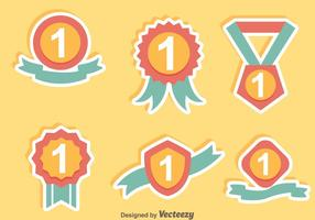 First Place Ribbon Flat Icons vector