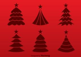 Árbol de Navidad Silueta Roja Vectores