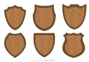 Houten Shield Icon Vectors