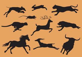 Animales ejecutando silueta vectores