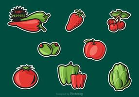 Gratis Fruit En Groenten Vector Stickers