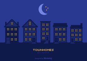 Fria townhomes vid nattvektor
