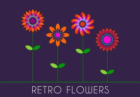 Retro 70s Flowers vector