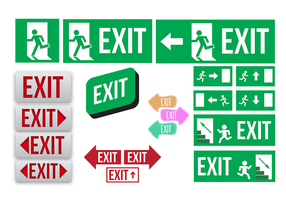 Emergency Exit Sign Collection Vector