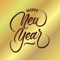 Letra da mão do vetor do feliz ano novo
