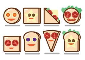 Lustige Brot-Sandwich-Gesichts-Vektoren