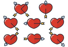 Flecha a través del corazón vector