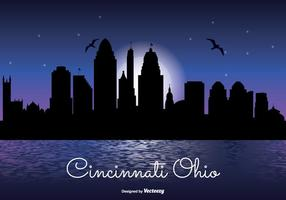 Cincinnati Nacht Skyline Illustration