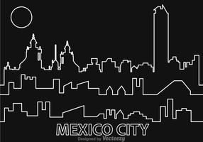 Mexico City Night Outline Vector
