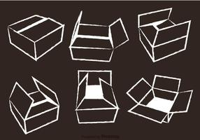 Cardboard Box Chalk Draw Vector