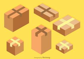 Boîte de carton isométrique en carton vecteur