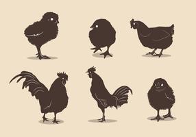 Vecteurs de silhouette de poulet