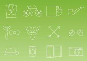 Hipster Thin Line Icon Vectors