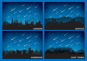 Meteors And Cities vector