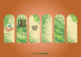 Etiquetas y etiquetas estacionales de la venta del otoño