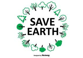 Save Earth Tree Wreath vector