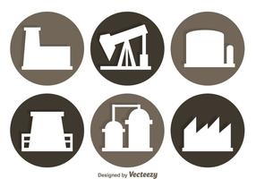 Factory Circle Icons vector