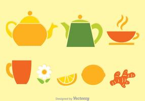 Tea Set Colors Vectors