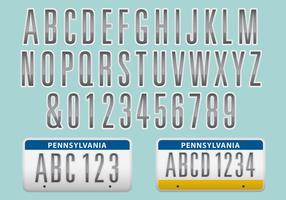 License Plate Font Vector