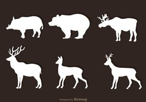Animales Bosque Blanco Vectores
