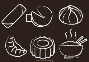 Chinese Food Chalk Drawn Vectors