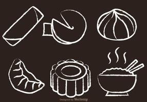 Vetores desenhados com giz com comida chinesa