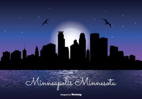 Minneapolis natt skyline illustration