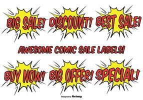 Comic-stijl promotionele label set