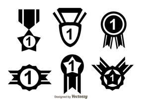 First Place Ribbon Black Icons vector