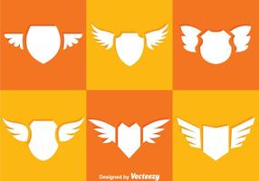 Shield And Wings Icons vector