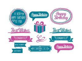 Etiquetas engomadas dibujadas mano lindas del cumpleaños del estilo