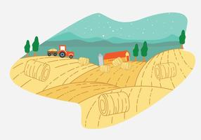 Escena del vector de la granja del fardo de heno