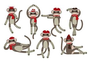Vecteurs de singe de chaussette
