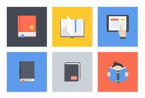 Flat Book Vector Icon Set