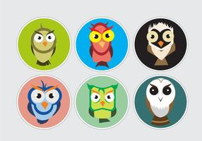 Colorful Barn Owl Stickers vector