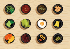 Free Vector Illustration Set of Korean Food