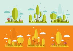 FREE GRASS AND TREES VECTOR