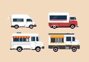 Insieme dell'illustrazione del camion dell'alimento di vettore gratuito