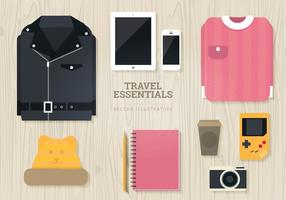 Travel Essentials Vector Illustration