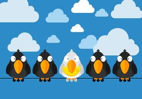 Free Birds Sittings On Wire Vector