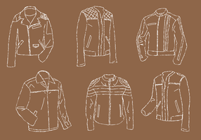 Leather Jacket Line Art Vector Set