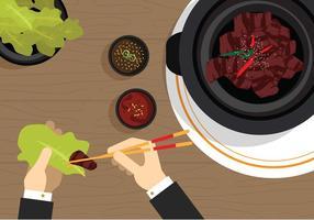Vector Bulgogi comida coreana